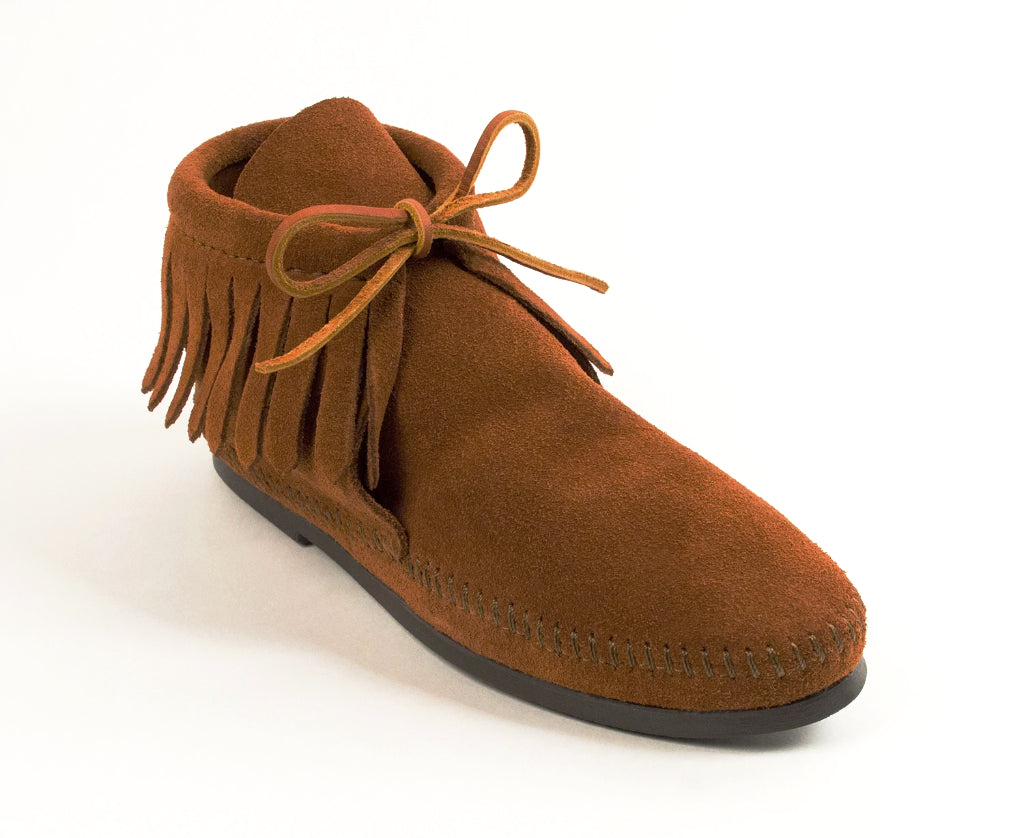 Classic Fringe Hardsole Boot in Brown from 3/4 Angle View