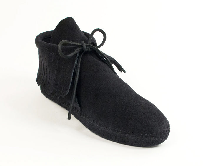 Classic Fringe Softsole Boot in Black from 3/4 Angle View