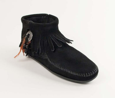 Concho Feather Boot in Black from 3/4 Angle View
