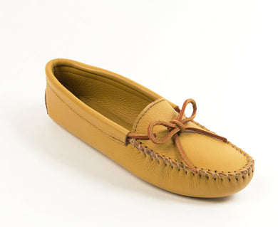 Double Deerskin Softsole Moccasin in Natural from 3/4 Angle View