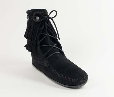 Double Fringe Tramper Boot in Black from 3/4 Angle View