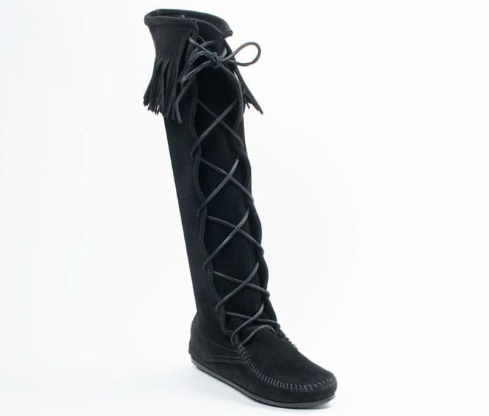 Front Lace Knee High Boot in Black from 3/4 Angle View