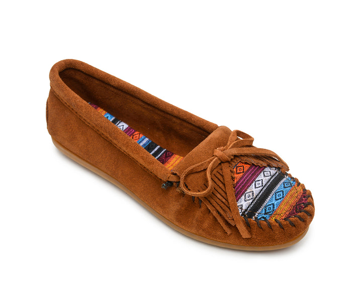 Kilty Hardsole Moccasin in Arizona Fabric from 3/4 Angle View