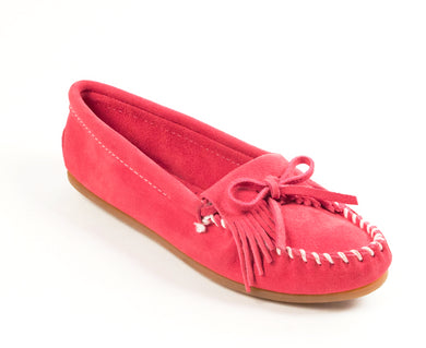 Kilty Hardsole Moccasin in Pink from 3/4 Angle View