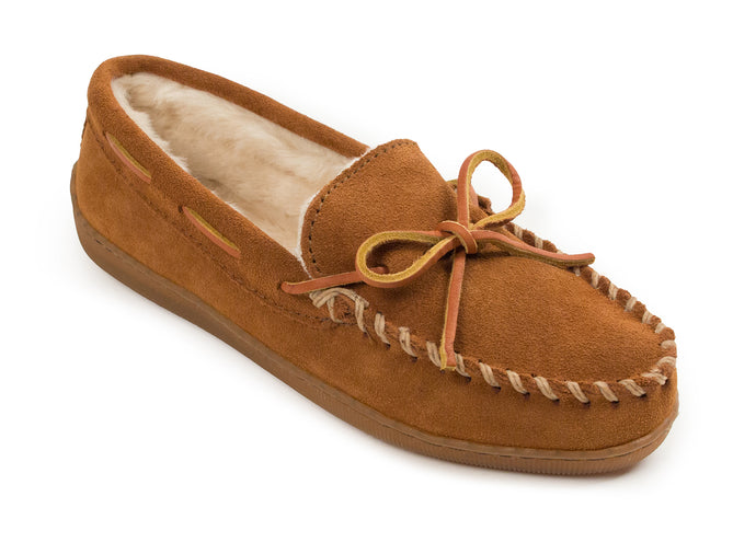 Pile Lined Hardsole Slipper in Brown from 3/4 Angle View