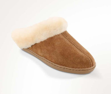 Sheepskin Mule Slipper in Tan from 3/4 Angle View