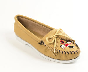 Thunderbird Boat Moccasin in Natural from 3/4 Angle View