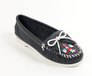 Thunderbird Boat Moccasin in Navy from 3/4 Angle View