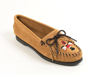 Thunderbird Boat Moccasin in Tan from 3/4 Angle View
