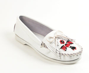 Thunderbird Boat Moccasin in White from 3/4 Angle View