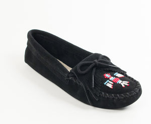 Thunderbird Softsole Moccasin in Black from 3/4 Angle View