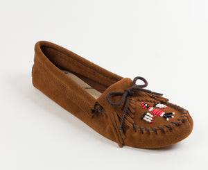 Thunderbird Softsole Moccasin in Brown from 3/4 Angle View