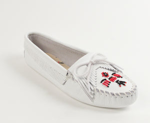 Thunderbird Softsole Moccasin in White from 3/4 Angle View