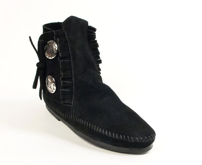 Two Button Hardsole Boot in Black from 3/4 Angle View