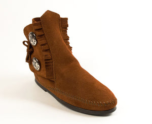 Two Button Hardsole Boot in Brown from 3/4 Angle View