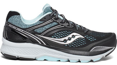 Saucony Women's Echelon 7 Running Shoe in Black/Aqua from the side