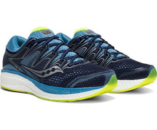 Load image into Gallery viewer, Saucony Women's Hurricane ISO 5 Running Shoe in Navy /Citron from the side