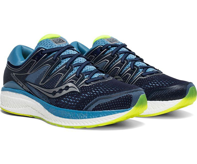 Saucony Women's Hurricane ISO 5 Running Shoe in Navy /Citron from the side