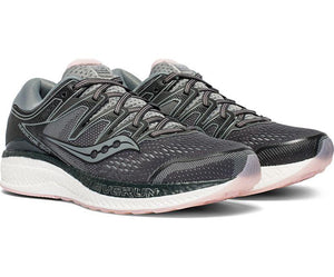 Saucony Women's Hurricane ISO 5 Running Shoe in Steel/Black from the side