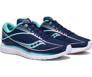 Saucony Women's Kinvara 10 Running Shoe in Navy/Mint from the side