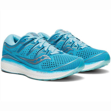 Saucony Women's Triumph ISO 5 Running Shoe in Blue from the side