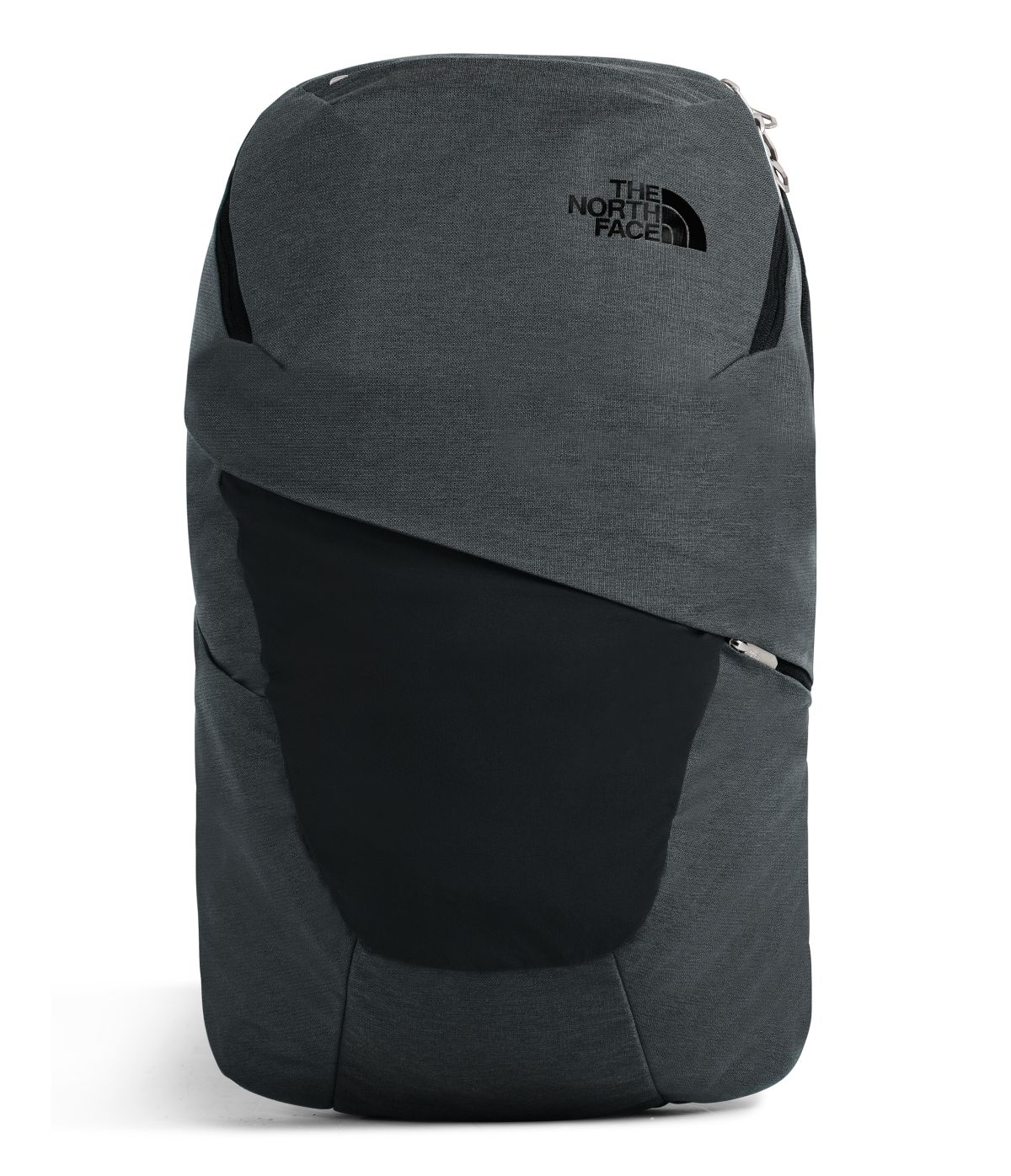 Women's The North Face Aurora Backpack in Asphalt Grey Light Heather/TNF Black from front view