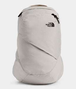 Women's The North Face Electra Commuter Backpack in Dove Grey Dark Heather/Crockery Beige from front view