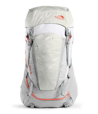 Women's The North Face Terra 65 Backpack in High Rise Grey/Mid Grey from front view