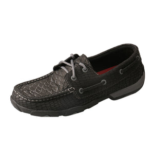 Women's Twisted X Boat Shoe Driving Moccasins in Black Fish & Grey from the side view