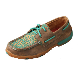 Women's Twisted X Boat Shoe Driving Moccasins in Bomber/Turquoise from the side view