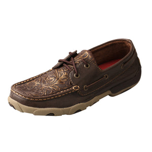Women's Twisted X Boat Shoe Driving Moccasins in Brown & Embossed Flower from the side view