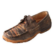 Load image into Gallery viewer, Women's Twisted X Boat Shoe Driving Moccasins in Distressed/Tiger from the side view