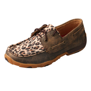 Women's Twisted X Boat Shoe Driving Moccasins in Distressed & Leopard from the side view