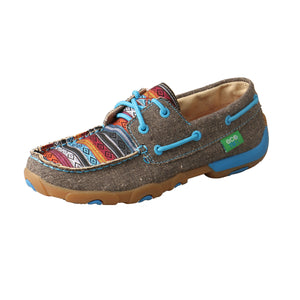 Women's Twisted X Boat Shoe Driving Moccasins in Dust & Multi from the side view