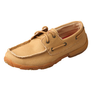 Women's Twisted X Boat Shoe Driving Moccasins in Khaki Canvas from the side view