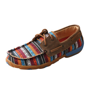 Women's Twisted X Boat Shoe Driving Moccasins in Serape & Bomber from the side view