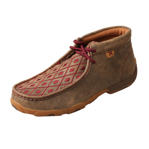 Women's Twisted X Chukka Driving Moccasins Shoe in Bomber & Mahogany from the side view