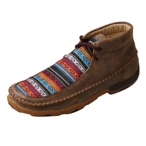 Women's Twisted X Chukka Driving Moccasins Shoe in Bomber & Multi Pattern from the side view