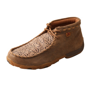 Women's Twisted X Chukka Driving Moccasins Shoe in Bomber & Nude Print from the side view