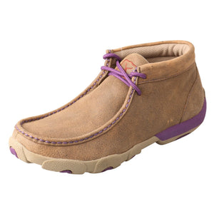Women's Twisted X Chukka Driving Moccasins Shoe in Bomber & Purple from the front