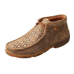 Women's Twisted X Chukka Driving Moccasins Shoe in Bomber & Tan from the side view