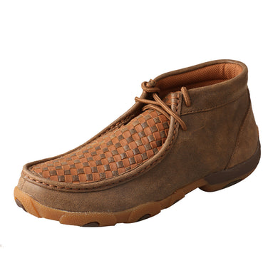 Women's Twisted X Chukka Lace-Up Driving Moccasins Shoe in Bomber & Tan from the side view