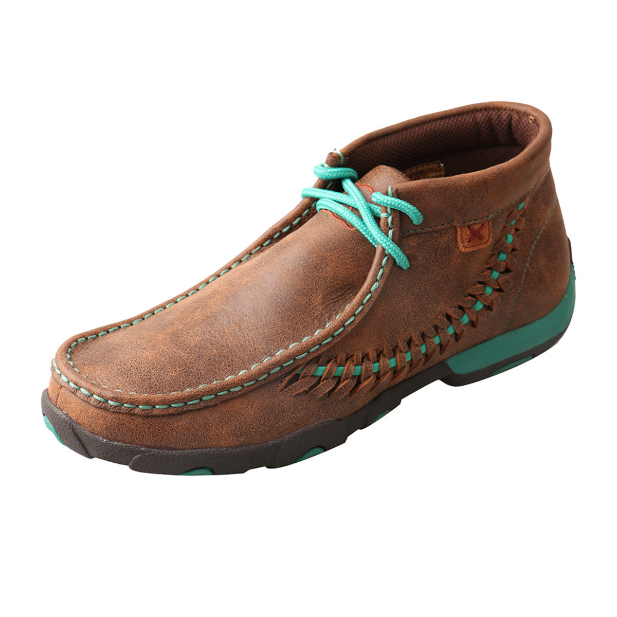 Women's Twisted X Original Chukka Driving Moccasins Shoe in Brown & Turquoise from the side view
