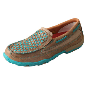 Women's Twisted X Slip-On Driving Moccasins Shoe in Bomber & Turquoise from the side view