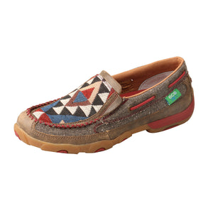 Women's Twisted X Slip-On Driving Moccasins Shoe in Dust & Multi from the side view