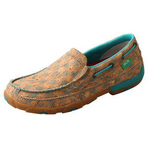Women_s Twisted X Slip-On Driving Moccasins Shoe Tan Turquoise from the side