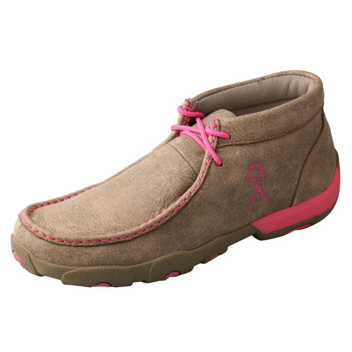 Women's Twisted X TETWP Chukka Driving Moccasin in Dusty Tan & Neon Pink from the side view