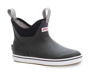 "Women's Xtratuf 6"" Ankle Deck Boot in Black from the side"