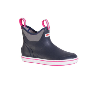 "Women's Xtratuf 6"" Ankle Deck Boot in Blue from the side"