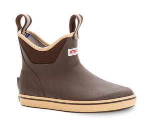 "Women's Xtratuf 6"" Ankle Deck Boot in Brown from the side"